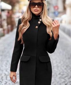 Palton dama negru scurt cambrat din stofa