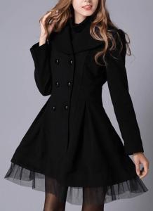 Palton dama negru scurt in clos cu aplicatii detasabile din voal