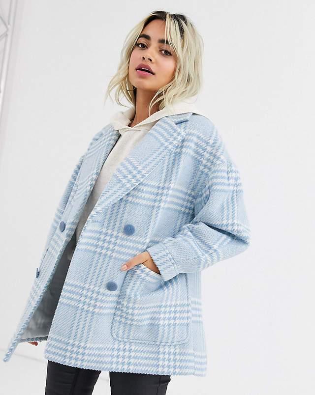 Palton dama scurt bleu cu dungi bleu si albe Asos