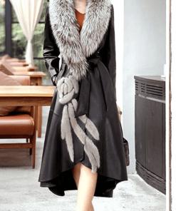 Palton negru asimetric din piele ecologica si guler din blana ecologica