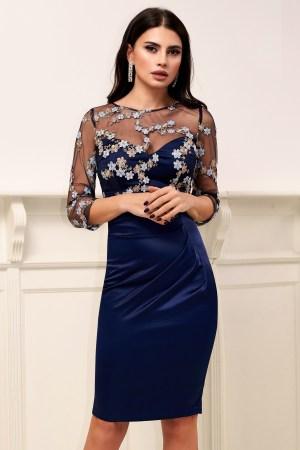 Rochie albastra de ocazie midi conica cu bustul si maneca din tul cu aplicatii florale