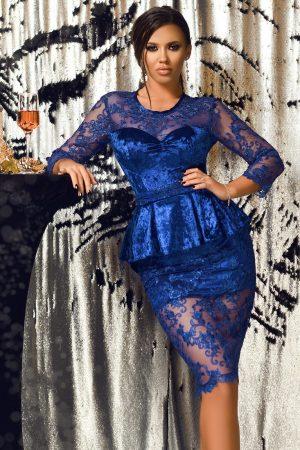 Rochie albastra de ocazie midi conica din catifea si tul brodat cu peplum in talie