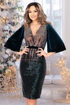 Rochie de ocazie eleganta midi bicolora cu paiete si maneci despicate