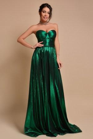 Rochie de ocazie lunga verde smarald vaporoasa cu bust buretat