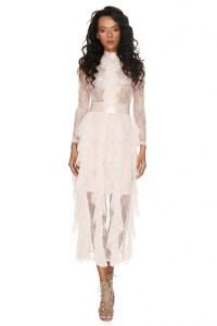 Rochie de seara lunga eleganta alba cu dantela transparenta