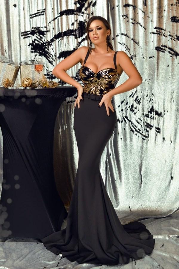 Rochie de seara lunga neagra cu paiete aurii la bust