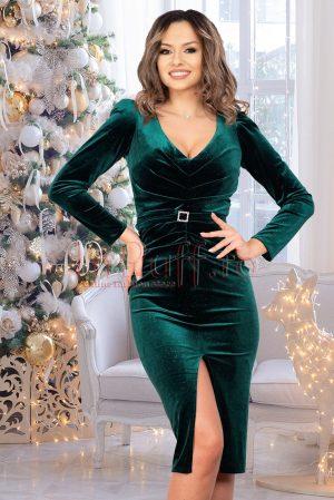 Rochie de seara midi verde cambrata din catifea cu sclipici decolteu in V