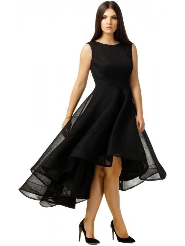 Rochie de seara neagra eleganta asimetrica si fusta din material tip plasa
