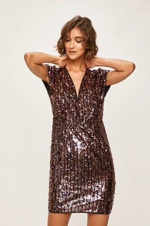 Rochie de seara scurta eleganta dreapta din paiete colorate
