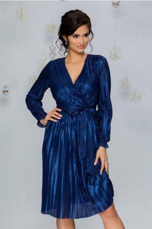 Rochie eleganta albastra din lurex plisat cu decolteu petrecut in V