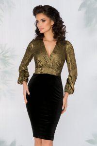 Rochie eleganta de ocazie cu bust din fir lurex auriu