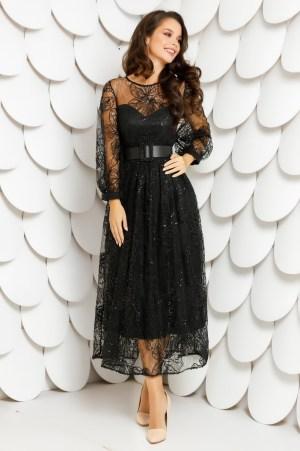Rochie eleganta realizata din dantela brodata si accesorizata cu paiete negre