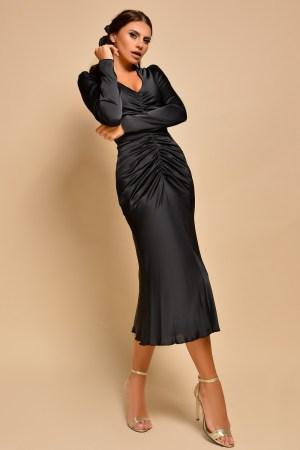 Rochie midi saten negru eleganta cu incretitura pe fata