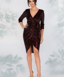 Rochie neagra eleganta din catifea cu paiete bordo