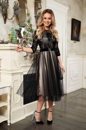 Rochie neagra midi de ocazie cu maneci trei-sferturi accesorizata cu cordon fusta