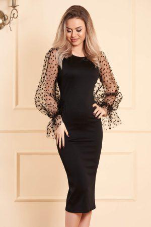 Rochie neagra midi tip creion din material usor elastic cu decolteu rotunjit cu maneci lungi transparente