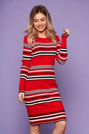 Rochie rosie casual de zi midi tip creion din material tricotat cu maneci lungi
