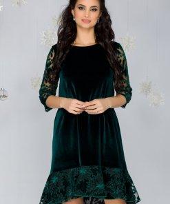Rochie verde din catifea cu decupaje florale din tull