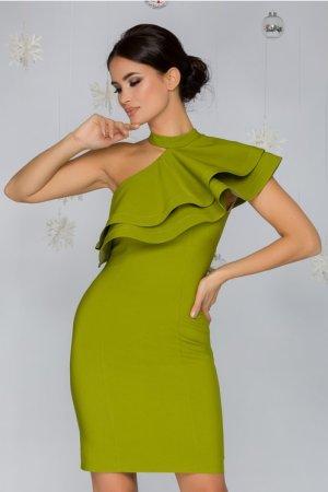 Rochie verde lime pe un umar cu volan maxi la bust