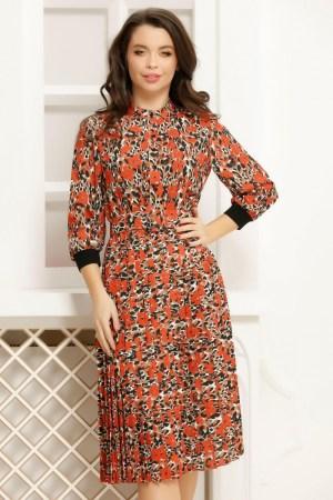 Rochie cu imprimeu portocaliu si bej cu fusta plisata si curea in talie