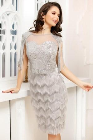 Rochie de ocazie eleganta argintie din paiete cu maneci din franjuri