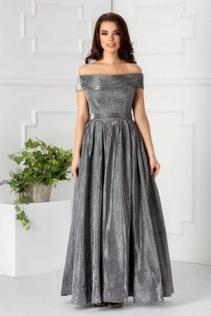 Rochie de ocazie eleganta lunga cu insertii din fir argintiu si umeri goi