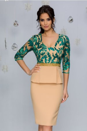 Rochie de ocazie eleganta midi conica nude beige cu broderie florala verde
