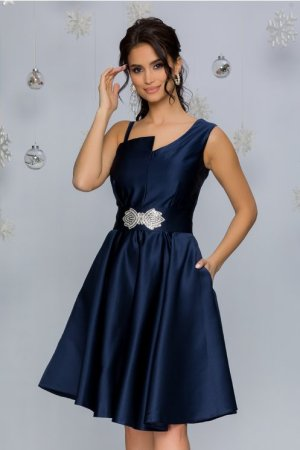 Rochie de ocazie eleganta midi din tafta bleumarin cu detaliu in talie