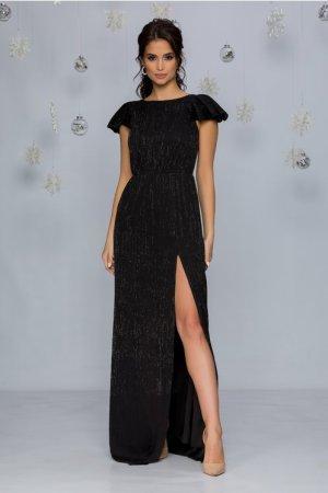 Rochie de ocazie eleganta neagra lunga in clos cu crepeu si decolteu rotund