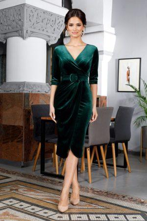 Rochie de ocazie eleganta petrecuta din catifea verde cu decolteu in V