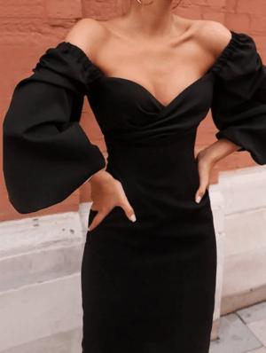 Rochie de seara conica neagra cu maneci evazate