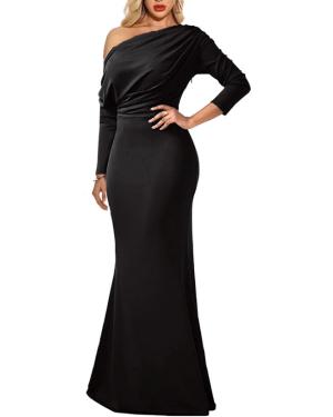 Rochie de seara neagra eleganta lunga tip sirena cu un umar gol
