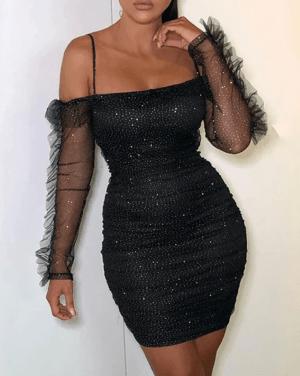 Rochie de seara scurta eleganta stralucitoare cu maneci transparente