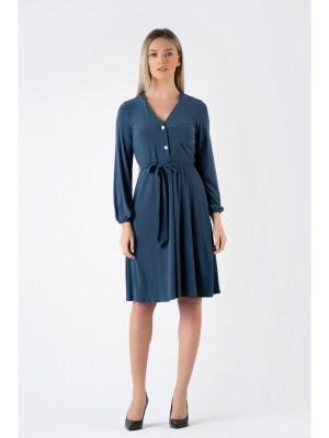 Rochie de zi bleumarin cu nasturi si cordon la talie si decolteu in v