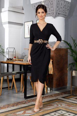 Rochie de zi office neagra midic tip lalea cu decoteu in v