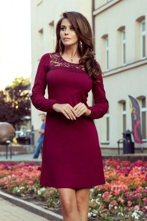 Rochie de zi scurta burgundy cu dantela la baza gatului