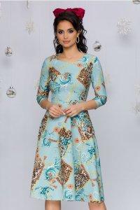 Rochie eleganta bleu midi in clos cu imprimeu chain si decolteu rotund