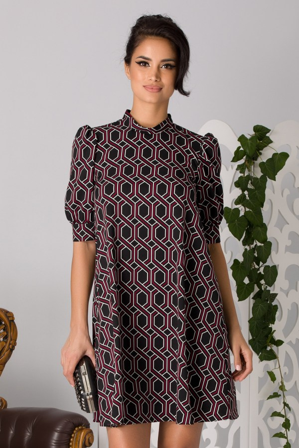 Rochie eleganta de zi in forma de A cu modele geometrice si maneci bufante