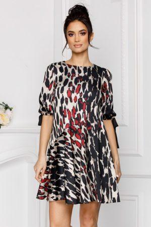 Rochie eleganta din satin scurta in clos cu imprimeu animal print
