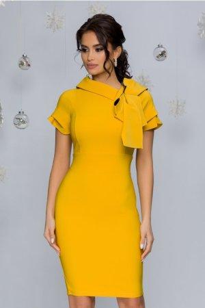 Rochie eleganta midi conica galbena cu funda la decolteu