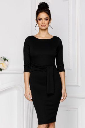 Rochie eleganta midi conica neagra cu maneci trei sferturi