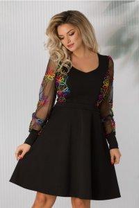 Rochie eleganta neagra midi in clos cu broderie multicolora si decolteu V