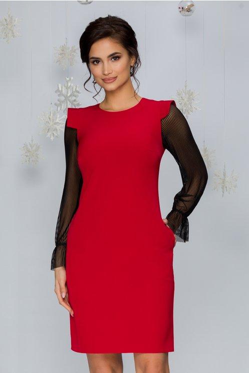 Rochie eleganta rosie midi cu maneci lungi din tull si decolteu rotund