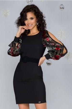 Rochie eleganta scurta neagra cu maneci decupate si imprimeu floral rosu