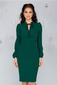 Rochie eleganta verde conica midi office cu guler tunica si maneci lungi