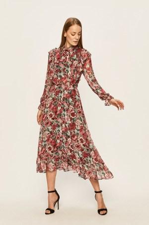 Rochie midi eleganta cu imprimeu floral multicolor si maneci decorative