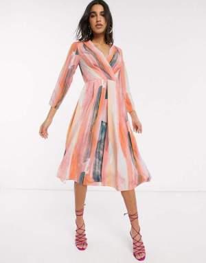 Rochie midi elegata multicolora cu decolteu in v