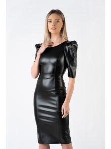 Rochie neagra eleganta mulata din piele ecologica