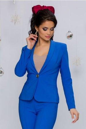 Sacou dama albastru cu rever tip sal si nasture maxi