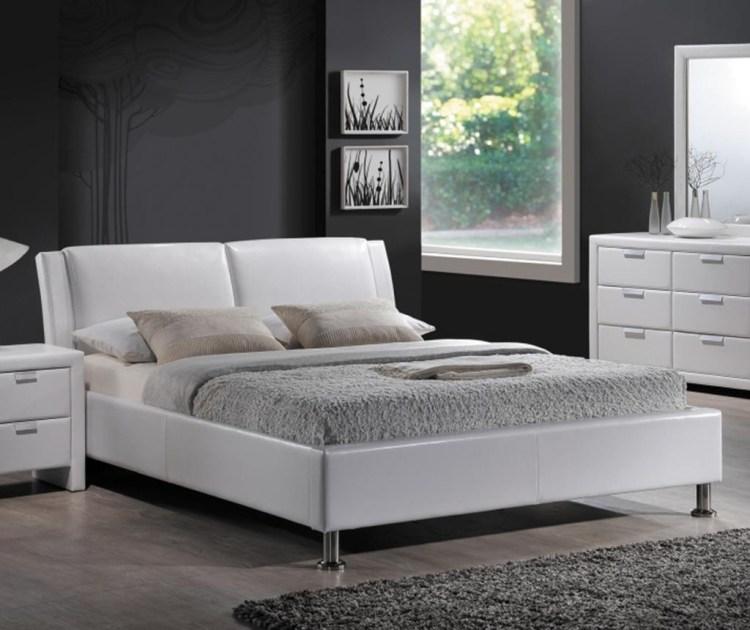 Pat dormitor alb Los Angeles White 140x200 cm